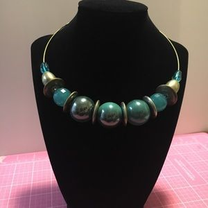 Turquoise and Gold Bead Choker